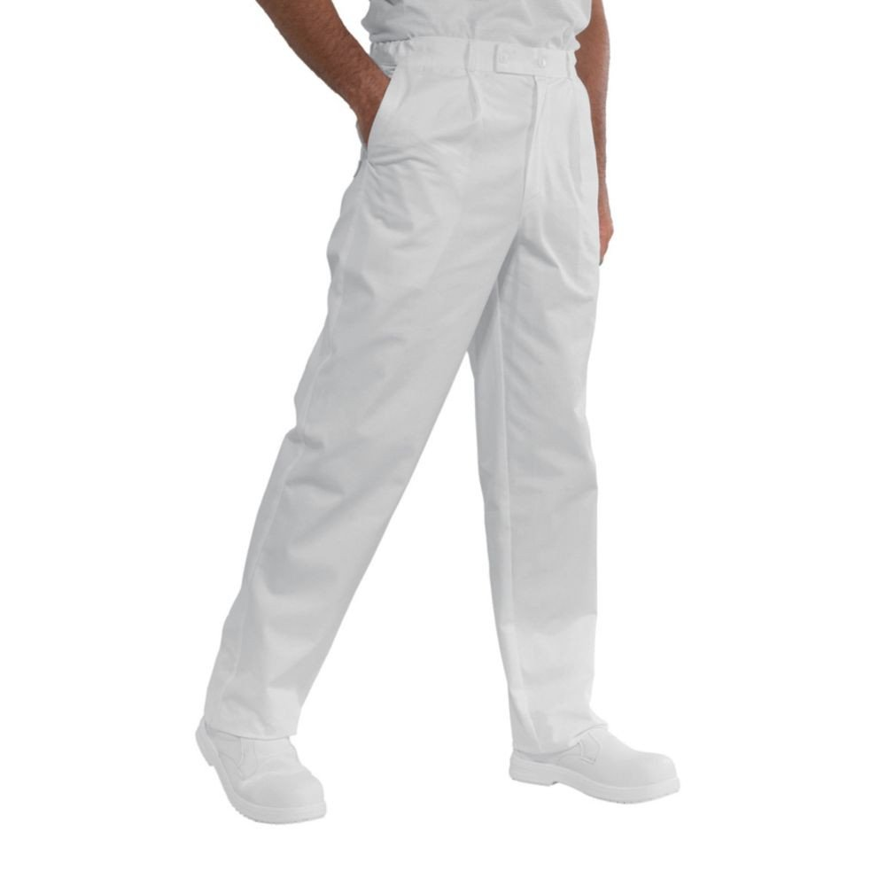 Pantalon blanc cuisine / médical Isacco Lavoro 100% coton - Blanc