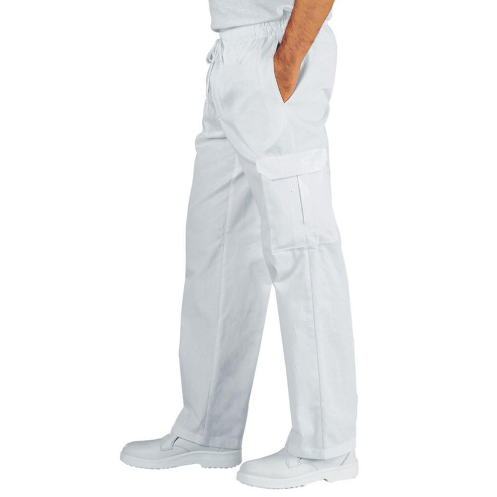 Pantalon blanc cuisine/médical Isacco Pantachef 100% coton - Blanc
