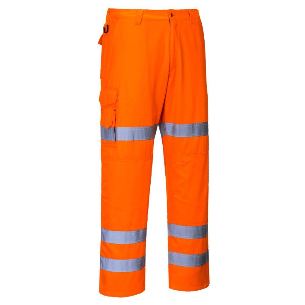 Pantalon haute visibilité Combat 3 bandes Portwest poches genouillères - Orange