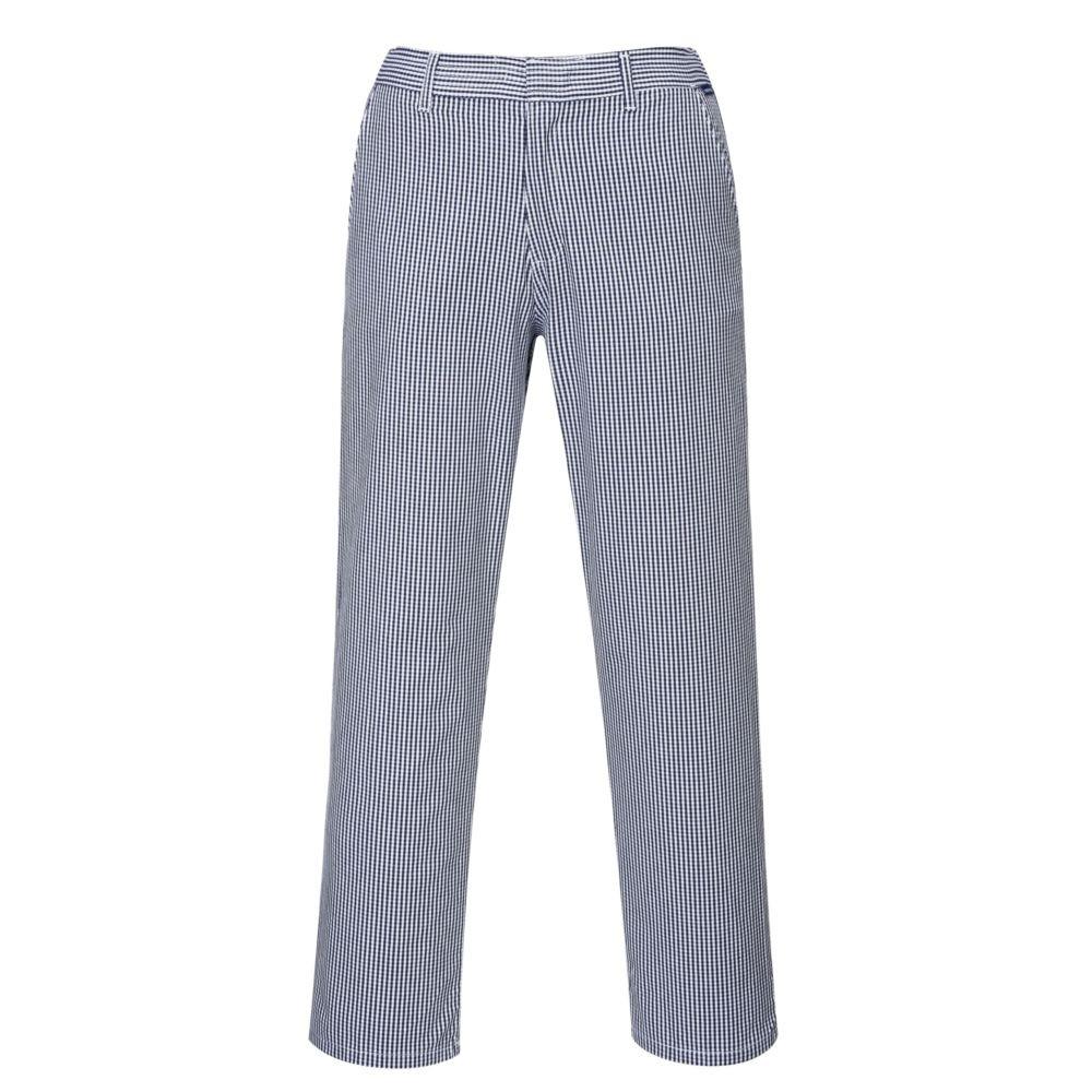 Pantalon de cuisine Portwest BARNET 100% coton - Echiquier Bleu Blanc