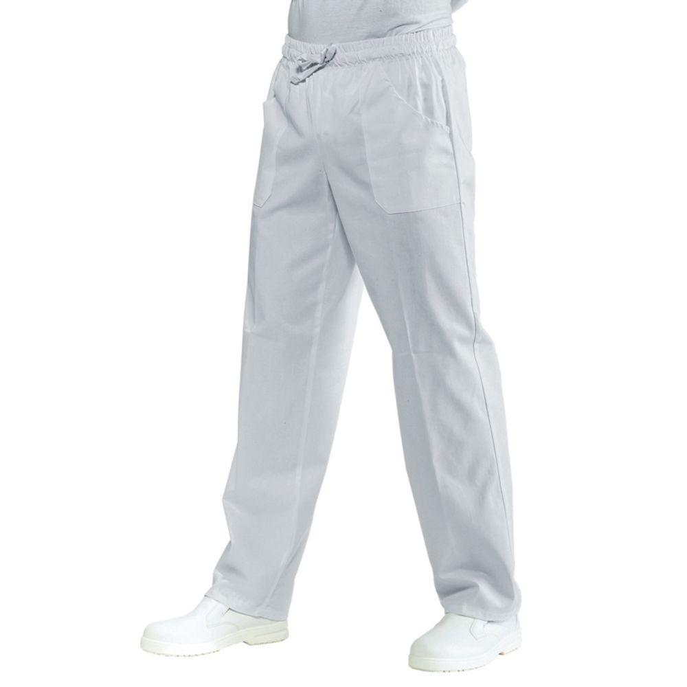 Pantalon de cuisine blanc Isacco 100% coton taille élastiquée - Blanc