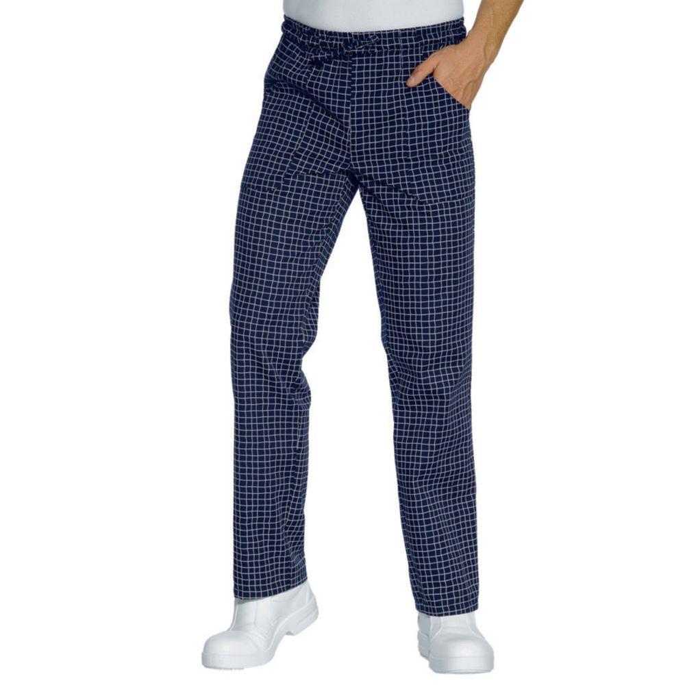 Pantalon de cuisine bleu à carreaux Isacco Glasgow Unisexe - Bleu A Carreaux