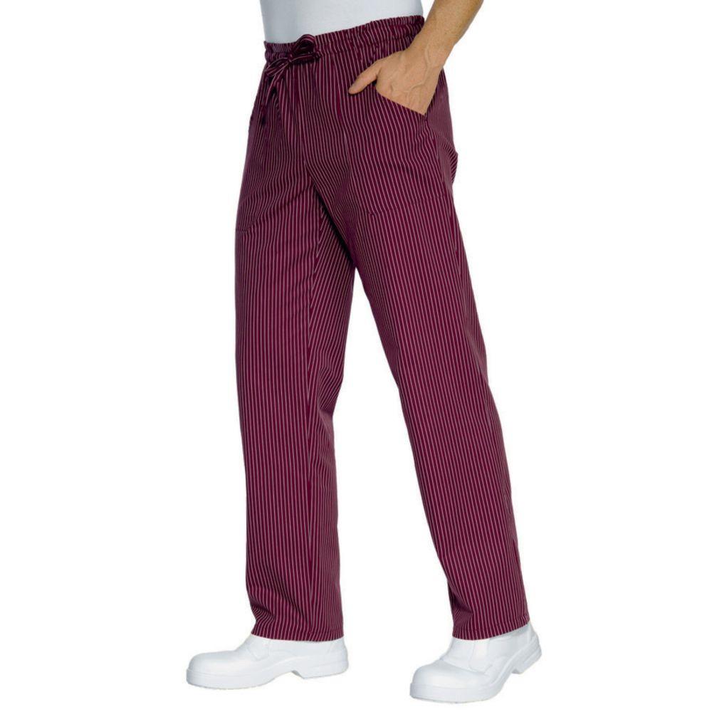 Pantalon de cuisine Bordeaux rayé Isacco 100% coton Unisexe - Bordeaux