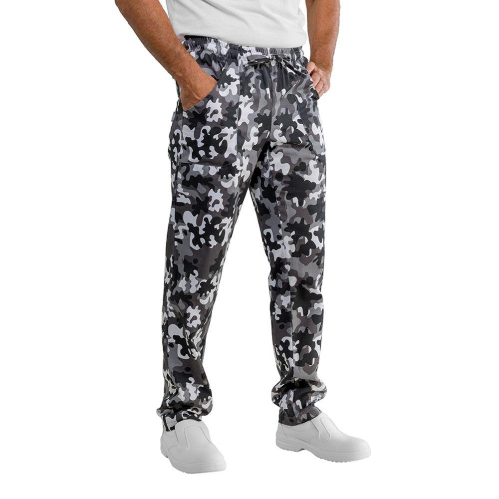 Pantalon de cuisine Camouflage noir et blanc Isacco Mimetico Unisexe - Camouflage Noir et Blanc