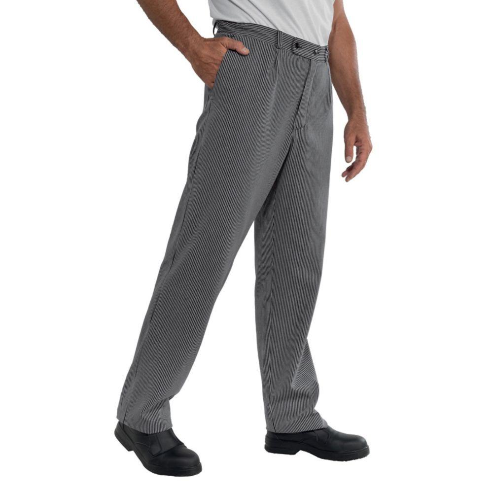 Pantalon de cuisine homme Isacco Roller 100% coton - Noir / Blanc