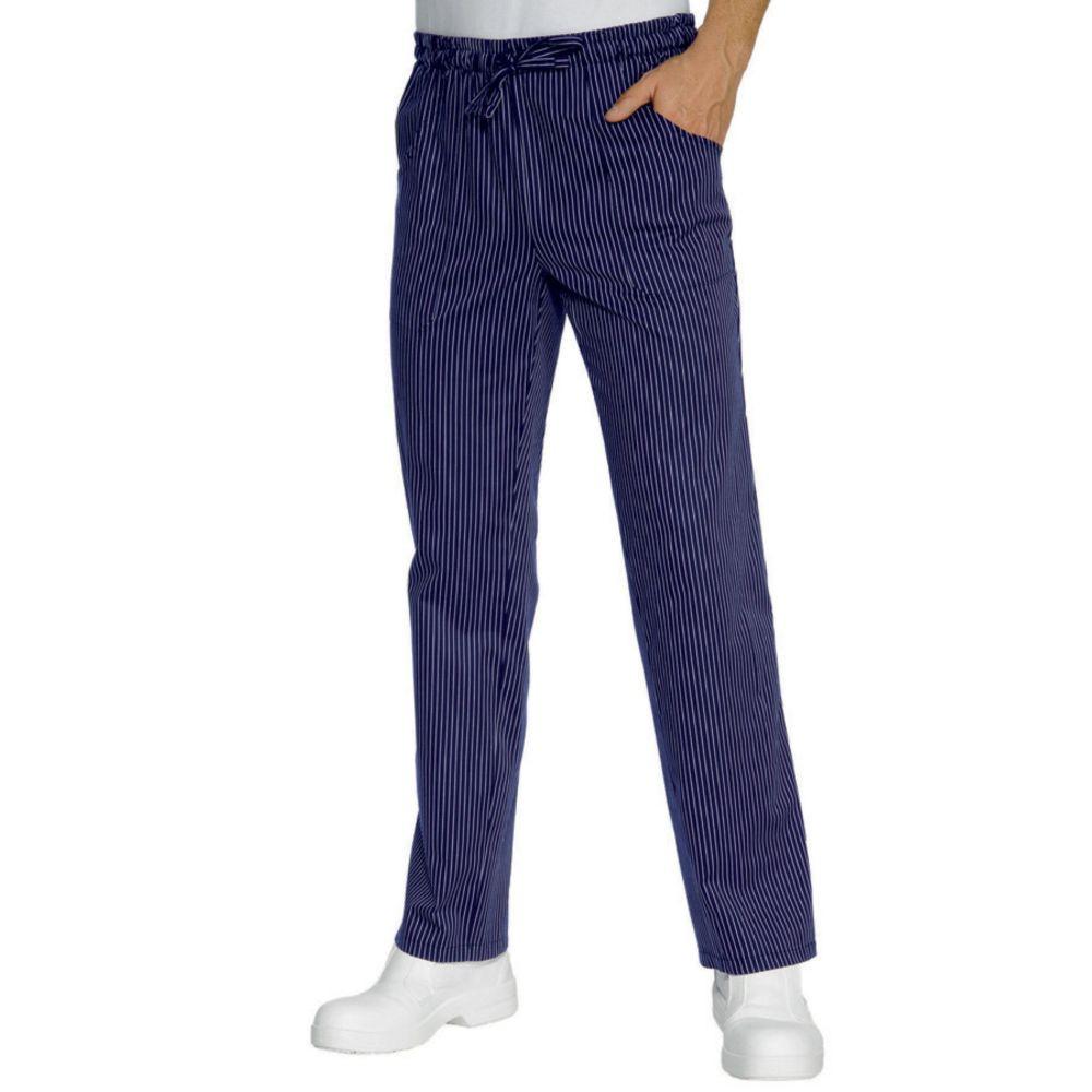 Pantalon de cuisine Isacco 100% coton bleu rayures blanches Unisexe - Bleu