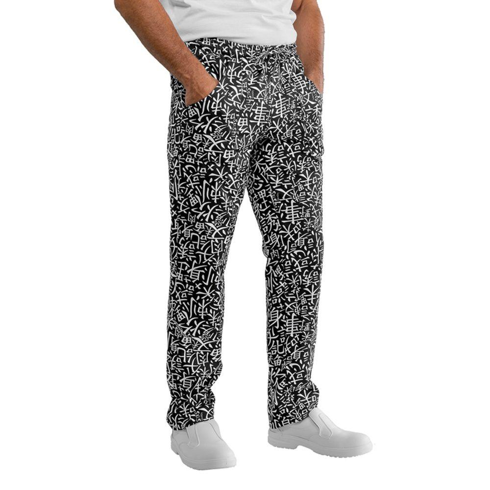 Pantalon de cuisine Isacco Sushi noir Unisexe - Blanc / Noir