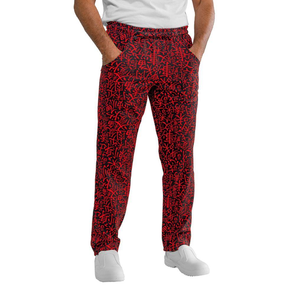 Pantalon de cuisine japonais Isacco Sushi noir et rouge Unisexe - Noir / Rouge