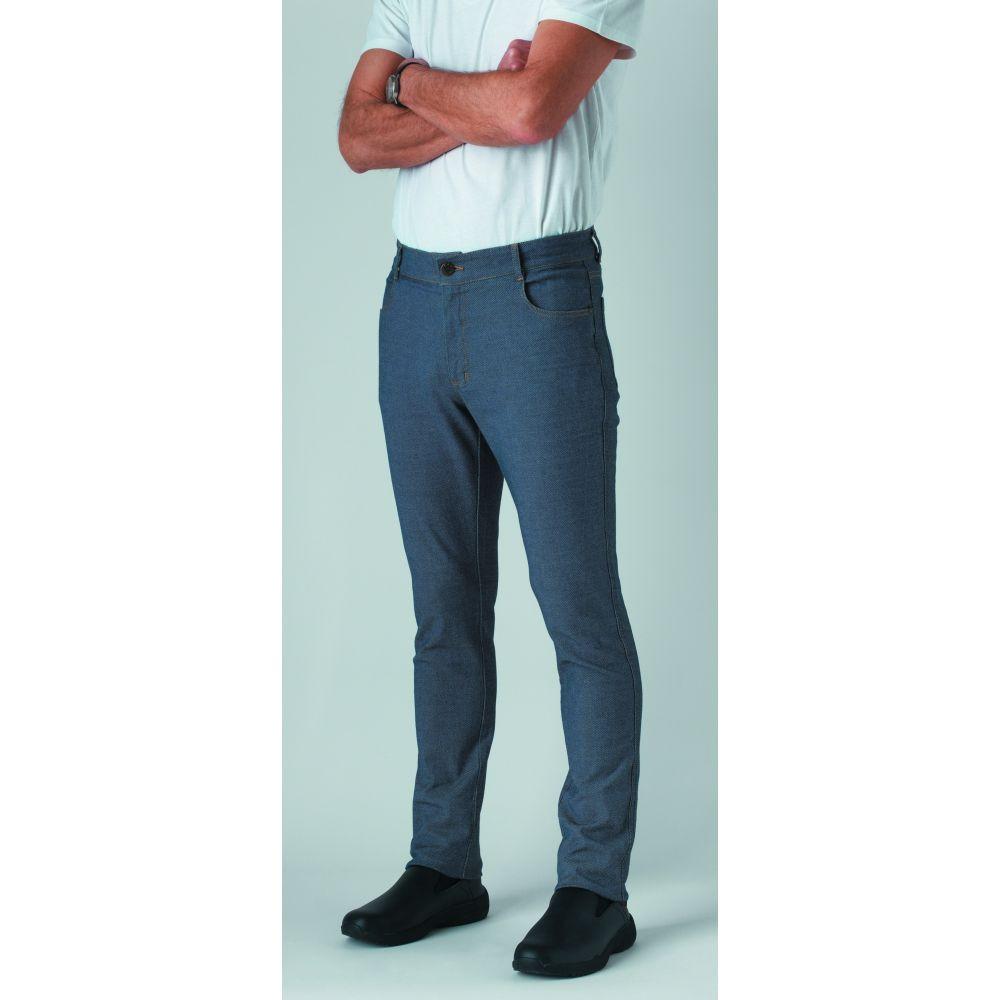 Pantalon de cuisine jean stretch Robur Austin 100% coton - Bleu