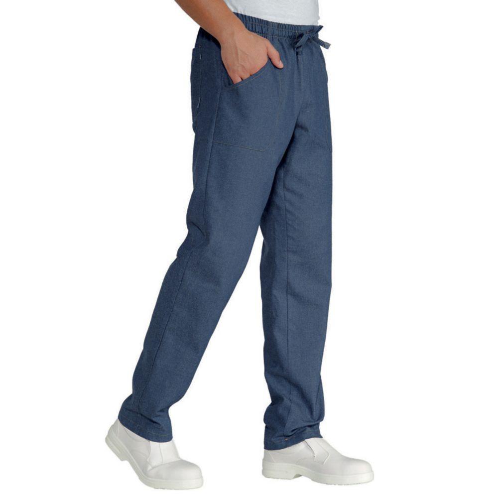 Pantalon de cuisine Jeans Isacco 100% coton Unisexe - Bleu Jean