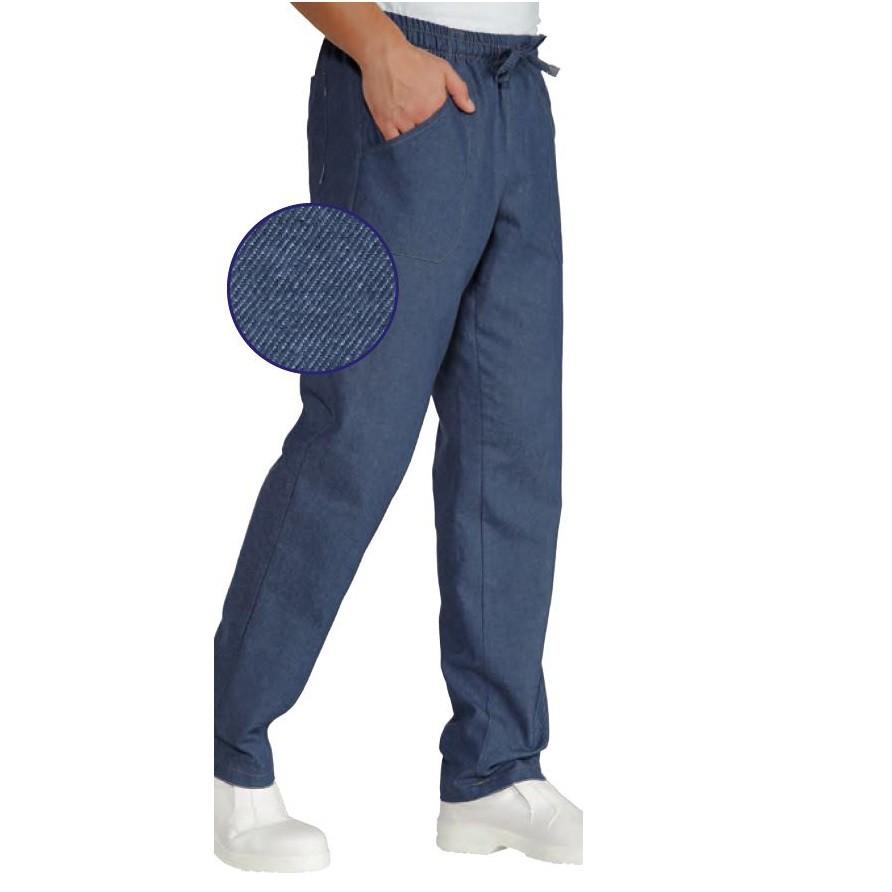 pantalon de cuisine jeans isacco 100 coton. Black Bedroom Furniture Sets. Home Design Ideas