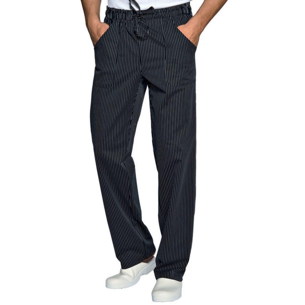 Pantalon de cuisine noir à rayures Isacco unisexe Vienna Nero - Noir / Blanc