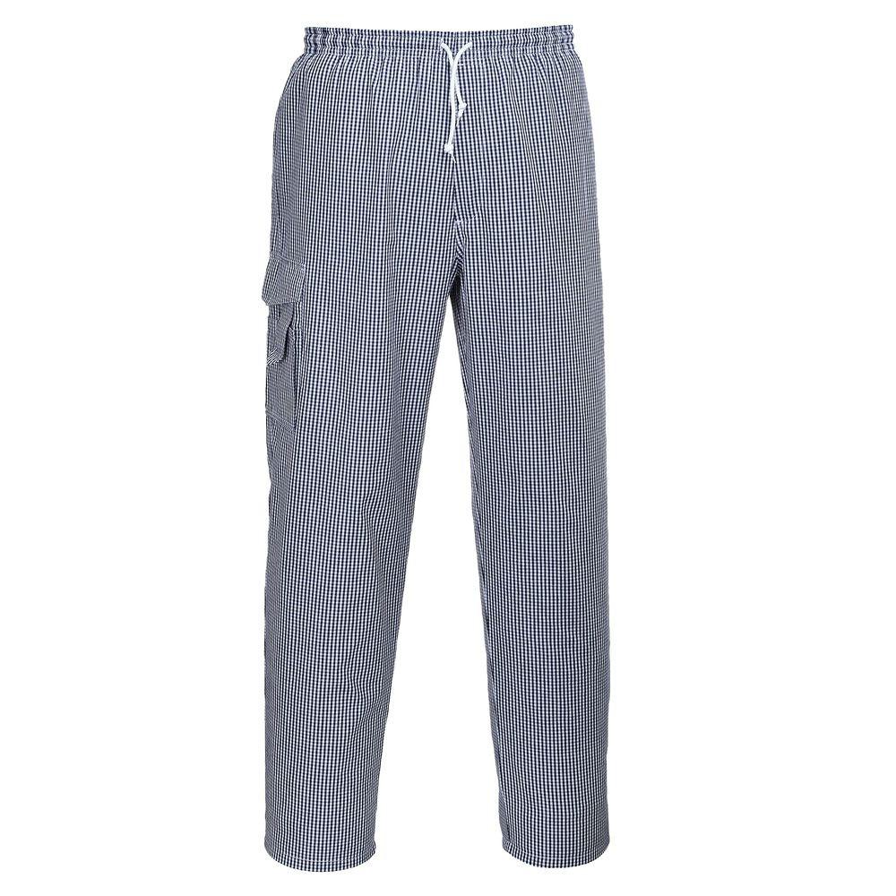 Pantalon de cuisine Portwest Chester 100% coton - Blanc / bleu