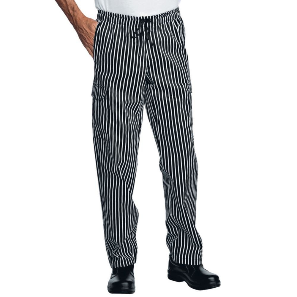 Pantalon de cuisine rayé noir et blanc multipoches Isacco Pantachef - Noir / Blanc