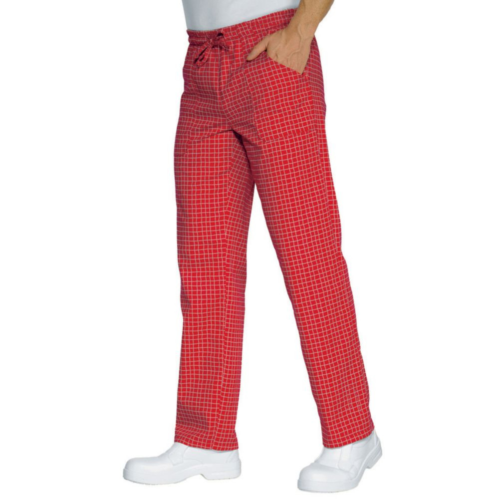 Pantalon de cuisine rouge à carreaux Isacco Denver Unisexe - Rouge A Carreaux