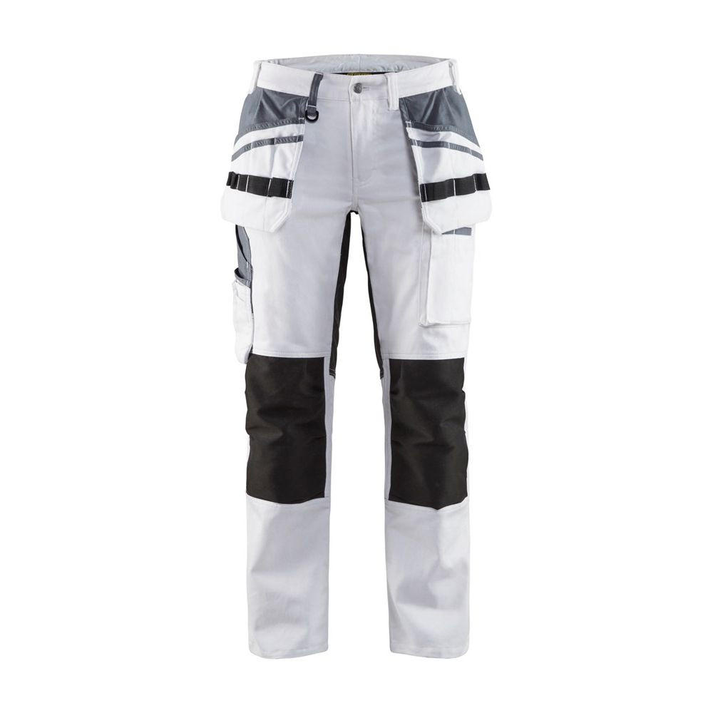 Pantalon de peintre à genouillères femme Blaklader Stretch - Blanc / Noir