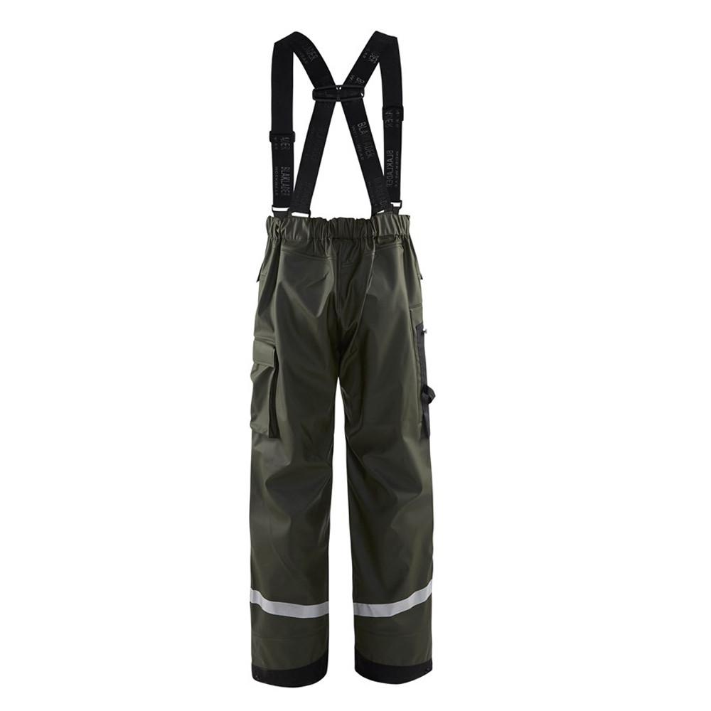 Pantalon de pluie à bretelles Blaklader genoux renforcés - Vert Armée