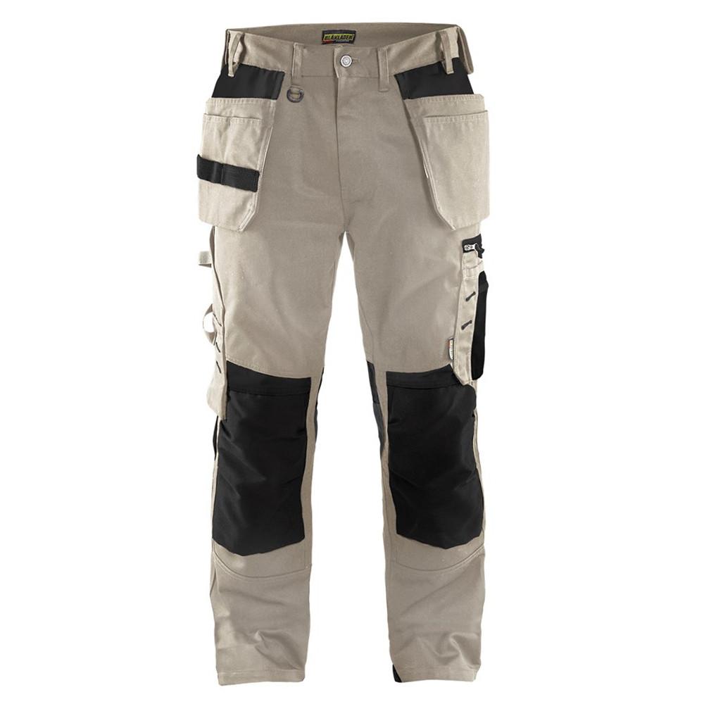 Pantalon de travail Artisan Blaklader à poches flottantes polycoton - Beige / noir
