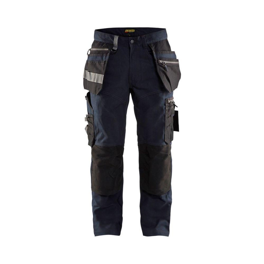 Pantalon de travail poches flottantes artisan Blaklader STRETCH - Marine Foncé / Noir