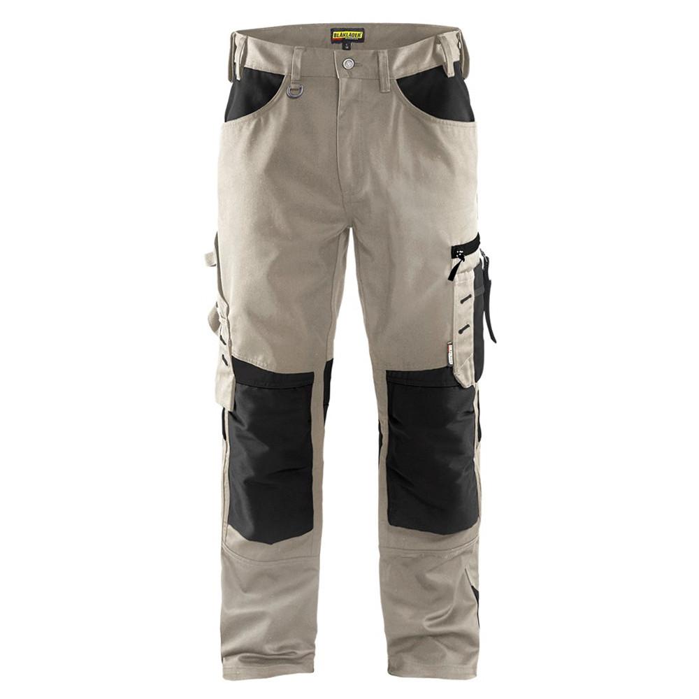 Pantalon de travail Blaklader artisan sans poches flottantes polycoton - Beige / Noir