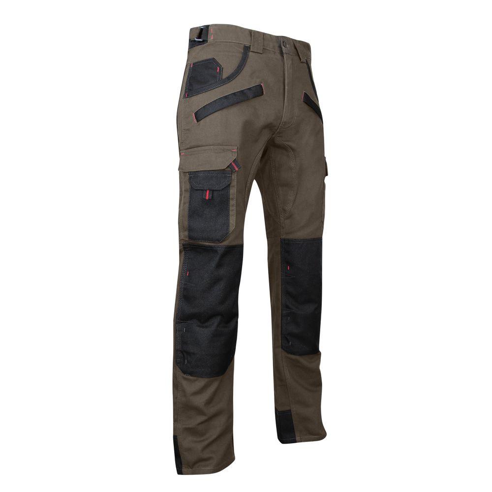 Pantalon de travail bicolore avec poches genouillères TOURBE LMA - Taupe / Noir
