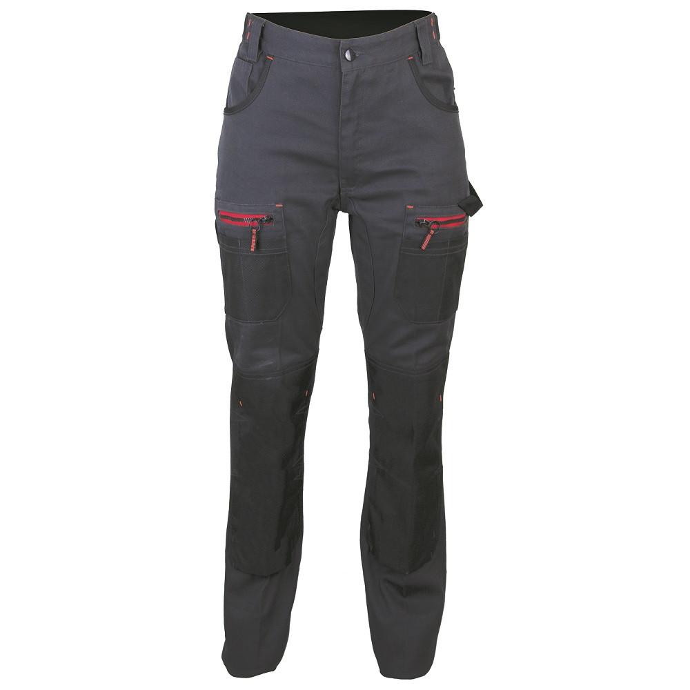 Pantalon de travail à genouillère femme bicolore LMA OLYMPIA - Gris / Noir