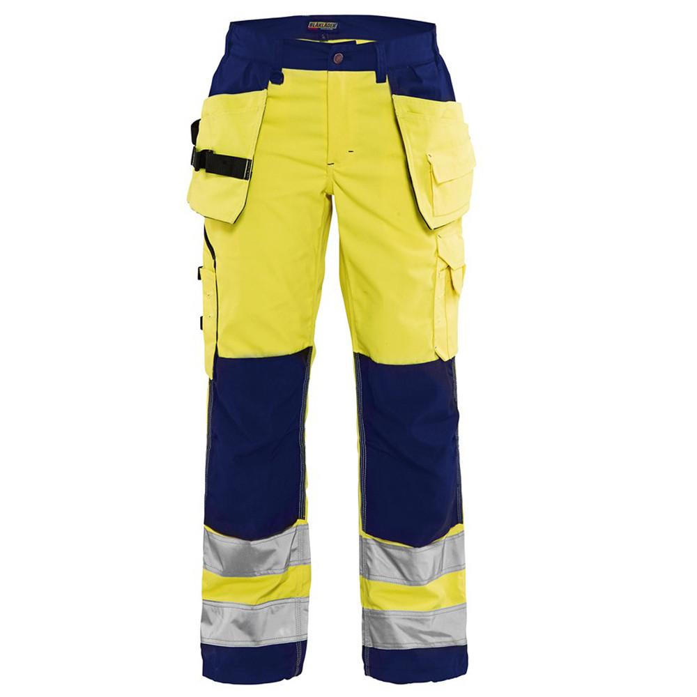 Pantalon de travail femme haute visibilité Blaklader polycoton poches flottantes - Jaune / Marine