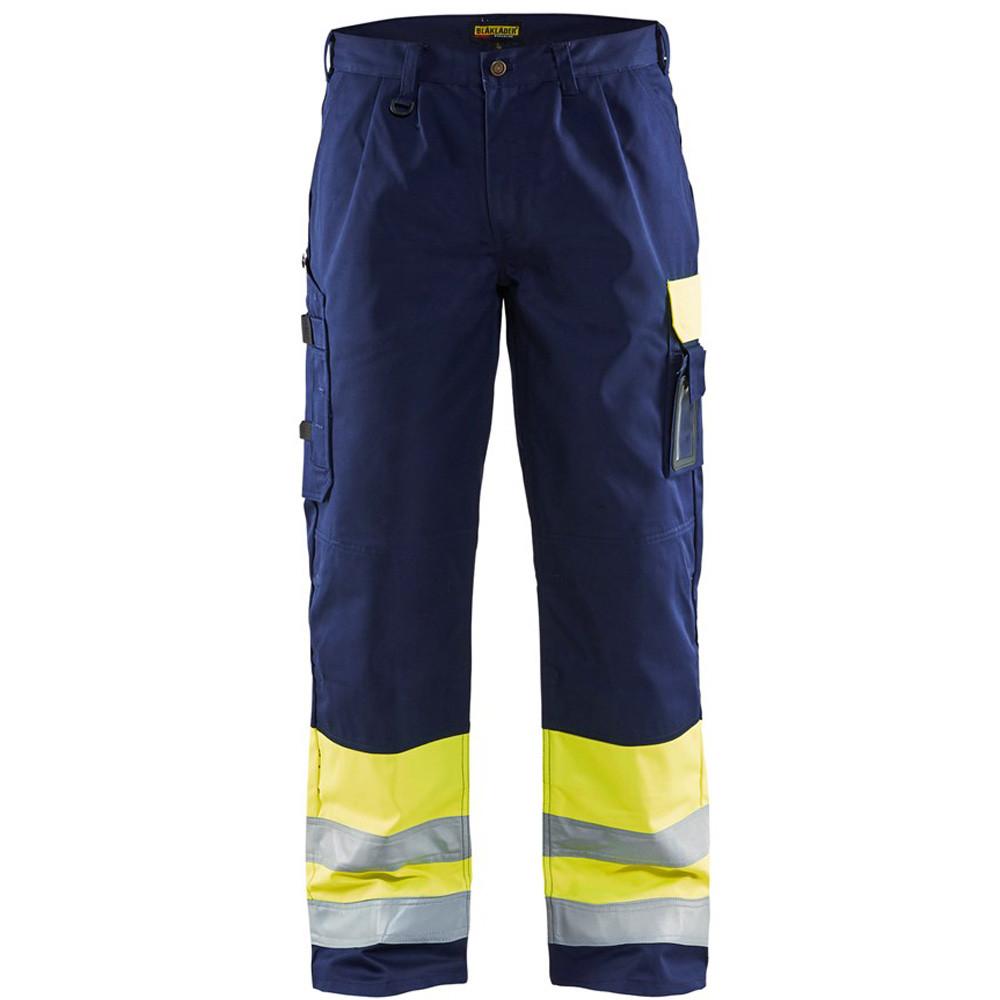 Pantalon de travail haute visibilité Blaklader spécial Transport classe 1 - JAUNE / MARINE