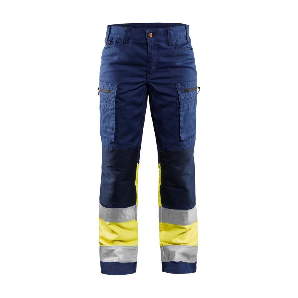 Pantalon de travail haute visibilité multipoches femme Blaklader Stretch - Marine / Jaune