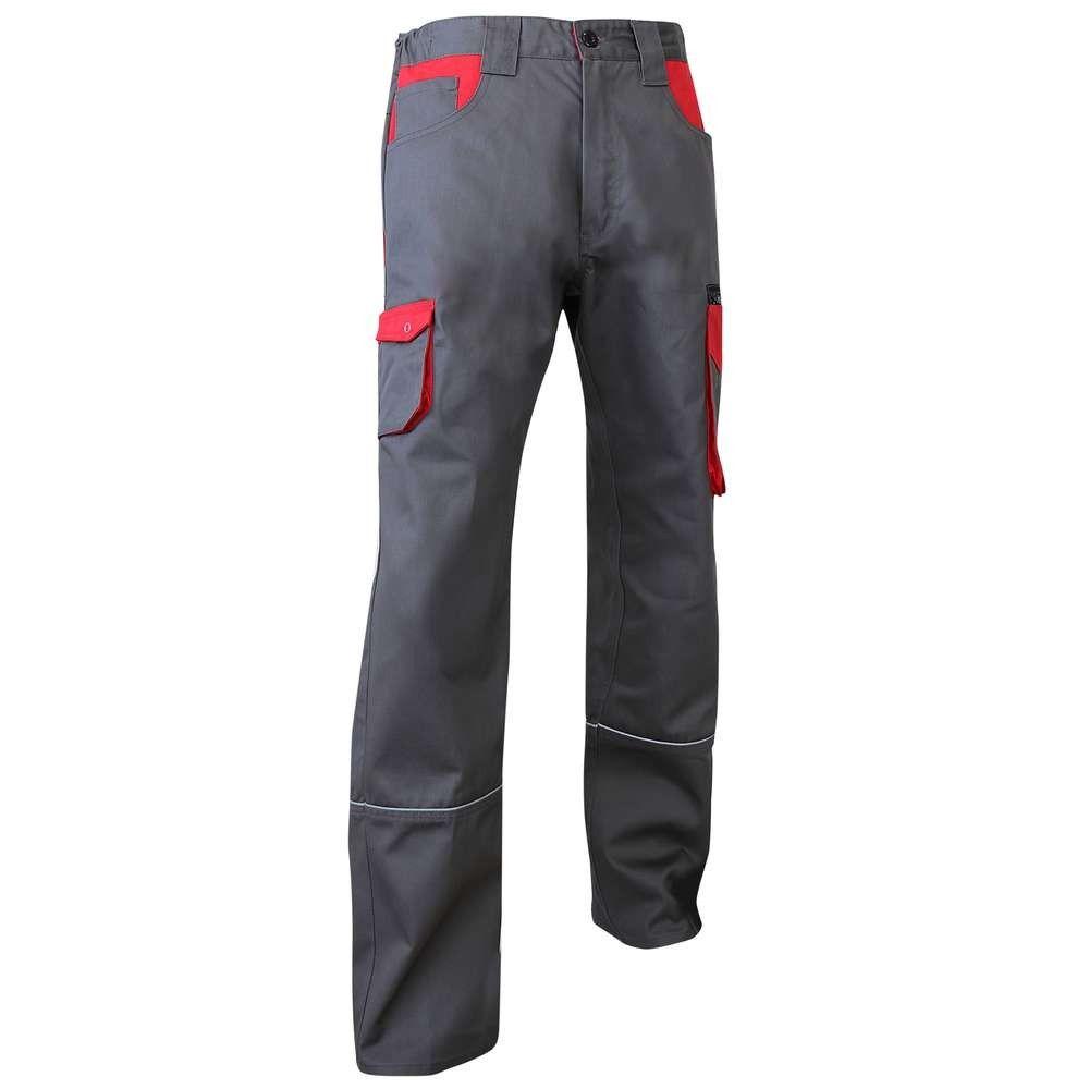 Pantalon de travail Multi Poches LMA Lin - Gris / Rouge