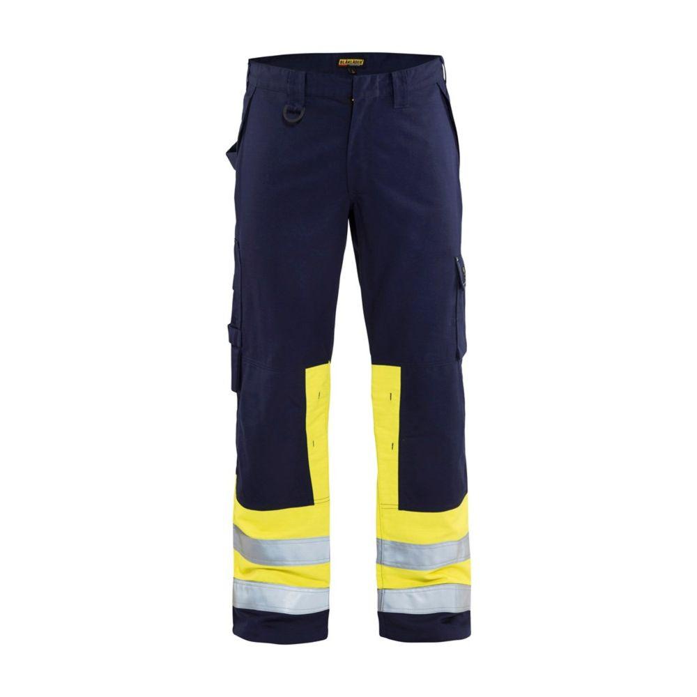 Pantalon de travail multinormes Blaklader GENOUILLERES CORDURA - Jaune / Bleu Marine