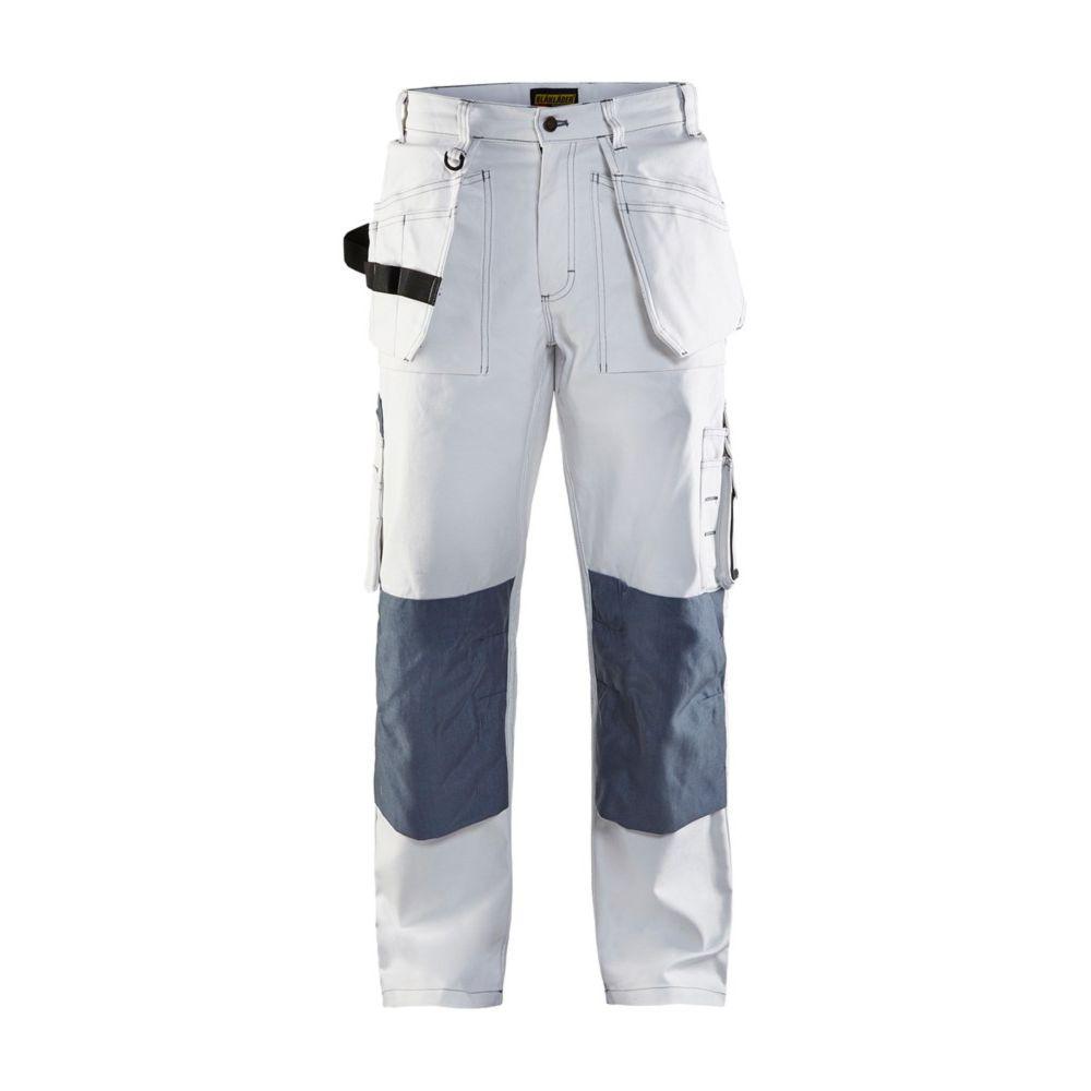 Pantalon de travail peintre Blaklader 100% coton à poches flottantes - Blanc