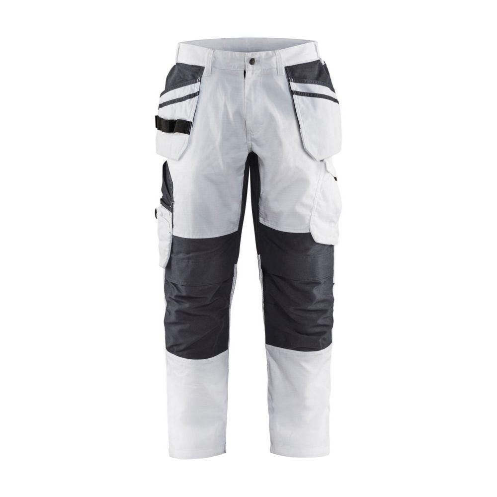 Pantalon de travail peintre Blaklader +STRETCH POCHES FLOTTANTES - Blanc / Gris