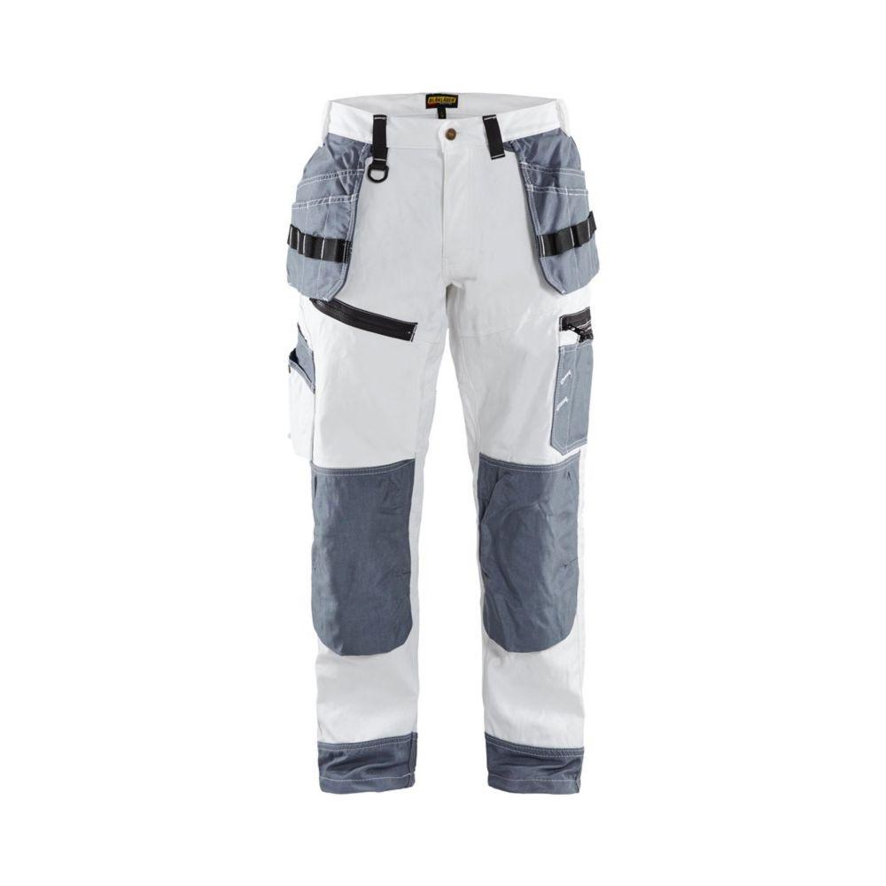 Pantalon de travail peintre X1500 Blaklader 100% coton poches flottantes - Blanc / Gris