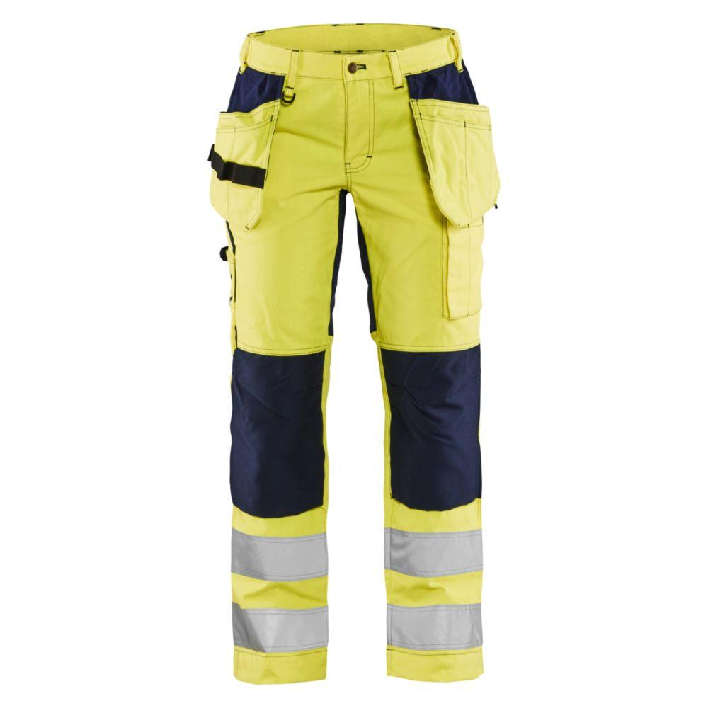 Pantalon à poches flottantes haute visibilité femme Blaklader +STRETCH - Jaune / Marine