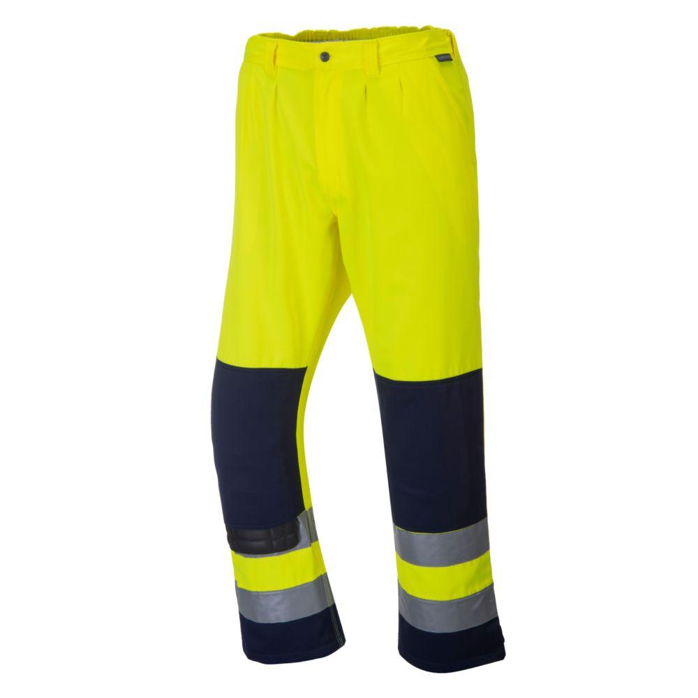 Pantalon haute visibilité à genouillère texo Portwest SEVILLE - Pantalon Haute-visibilité Texo Portwest SÉVILLE jaune / marine profil