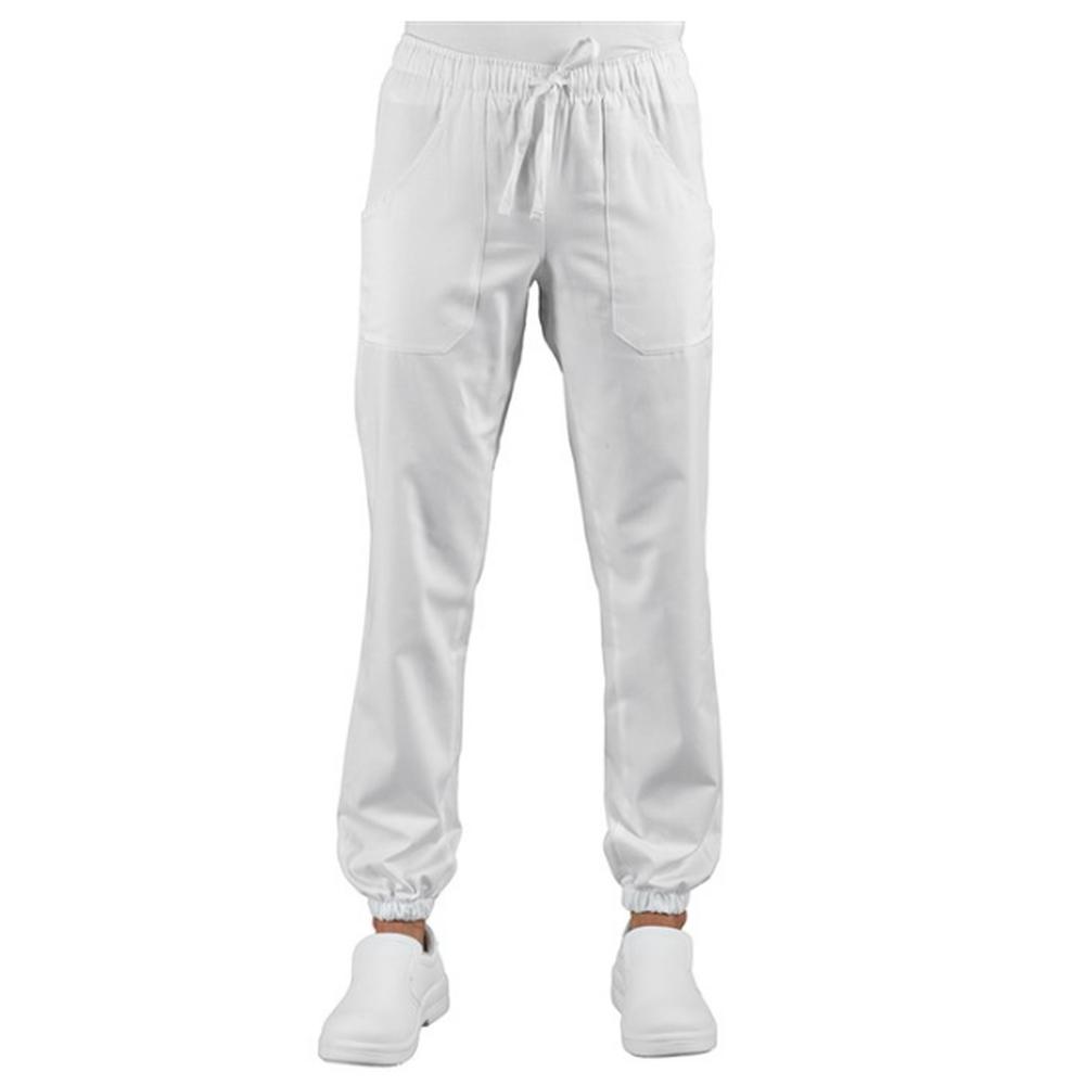 Pantalon de travail médical / cuisine élastiqué Isacco blanc Pantagiaffa - Blanc