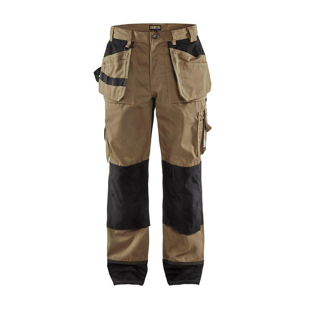 Pantalon de travail bicolore Blaklader artisan polycoton - Beige / Noir
