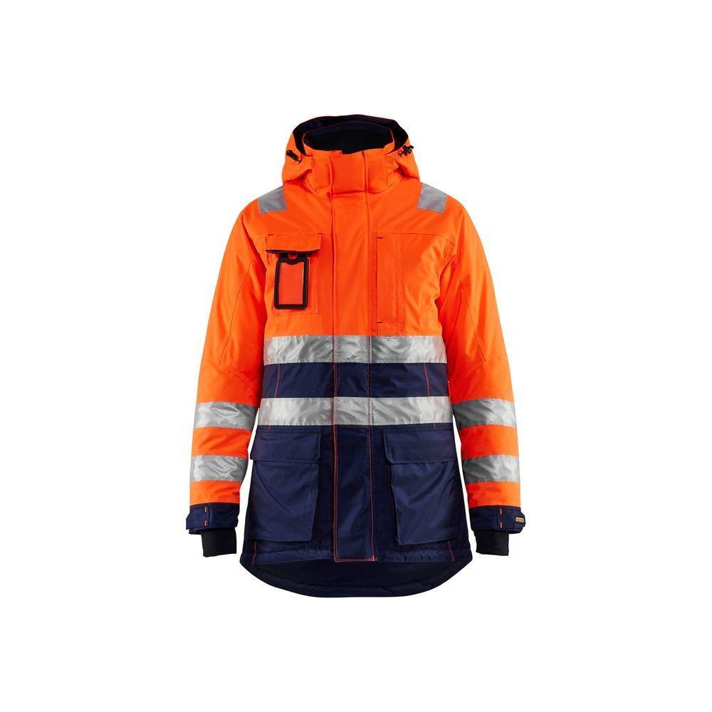 Parka de travail femme haute visibilité hiver Blaklader Classe 3 - Orange / Marine