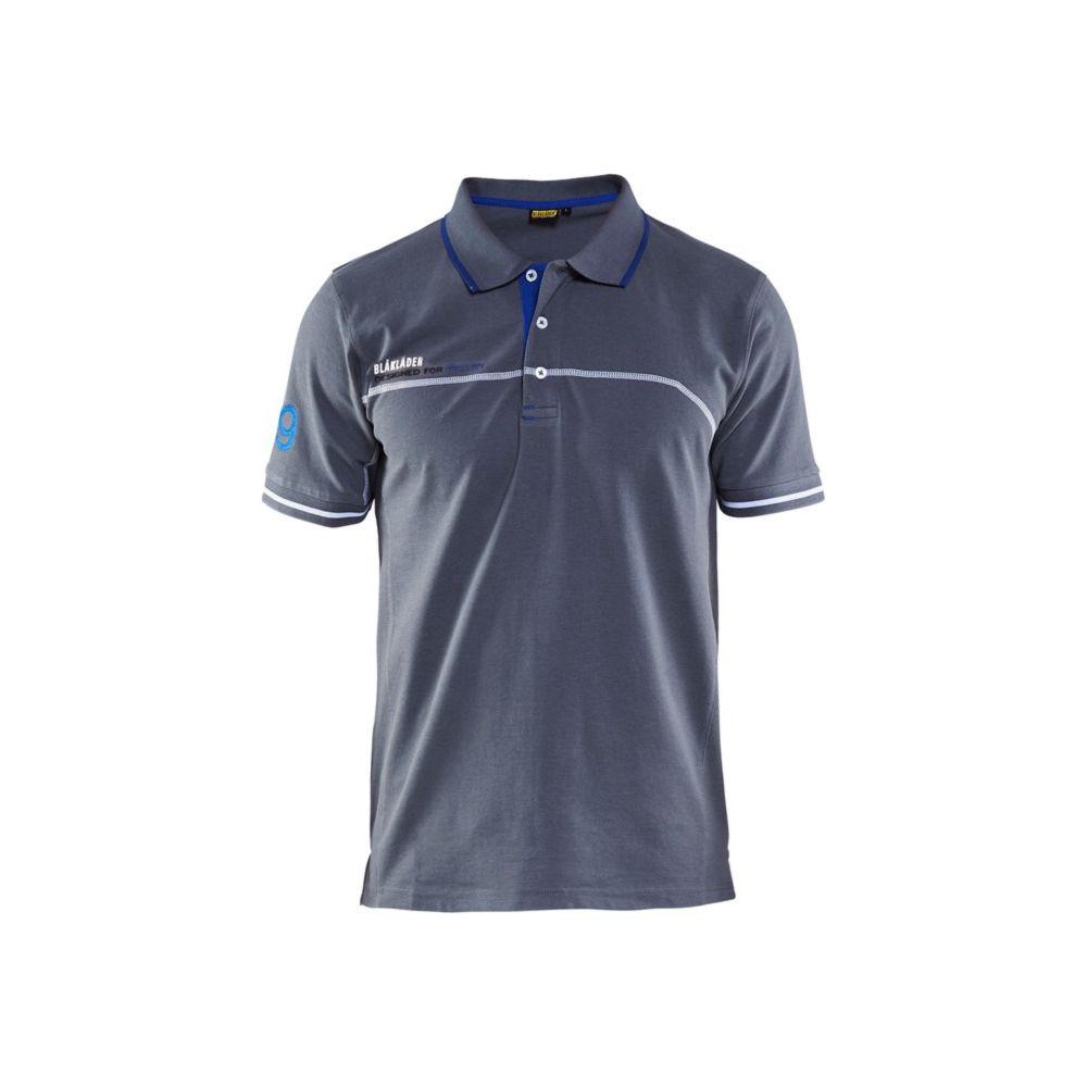 Polo de travail Blaklader logo brodé - Gris / Bleu Roi
