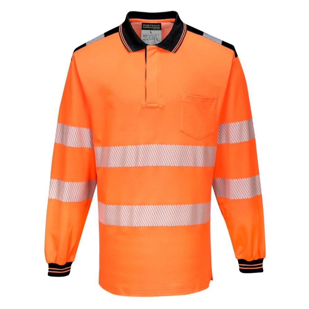 Polo de travail manches longues haute visibilité Portwest PW3 - Orange / Noir