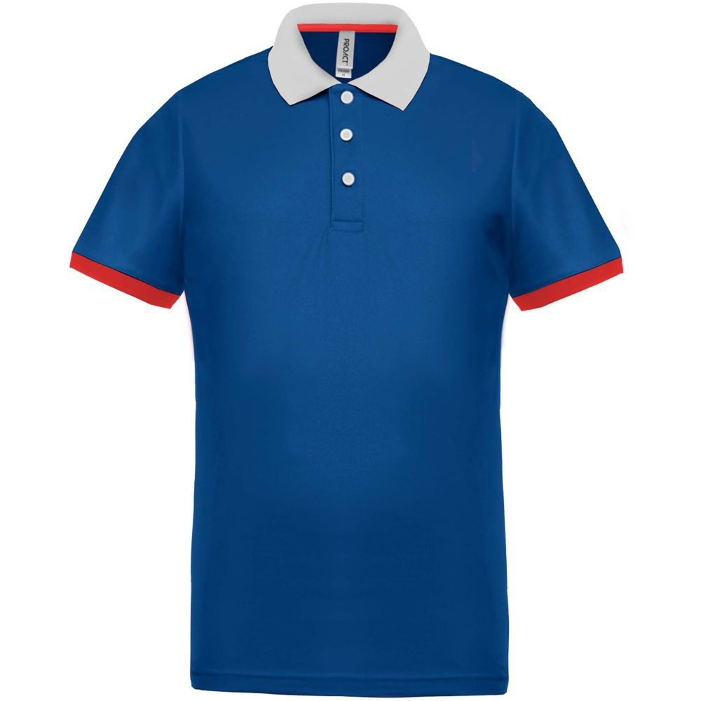 Polo tricolore homme Proact Performance - Bleu