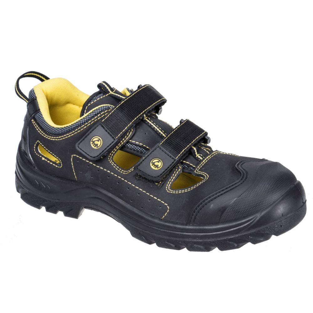 Sandales de sécurité ESD S1P 100% non métallique Portwest composite - Noir