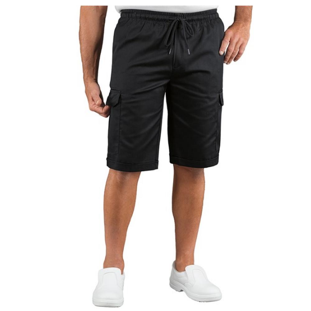 Short de travail taille élastiquée Isacco noir poches cargo - Noir