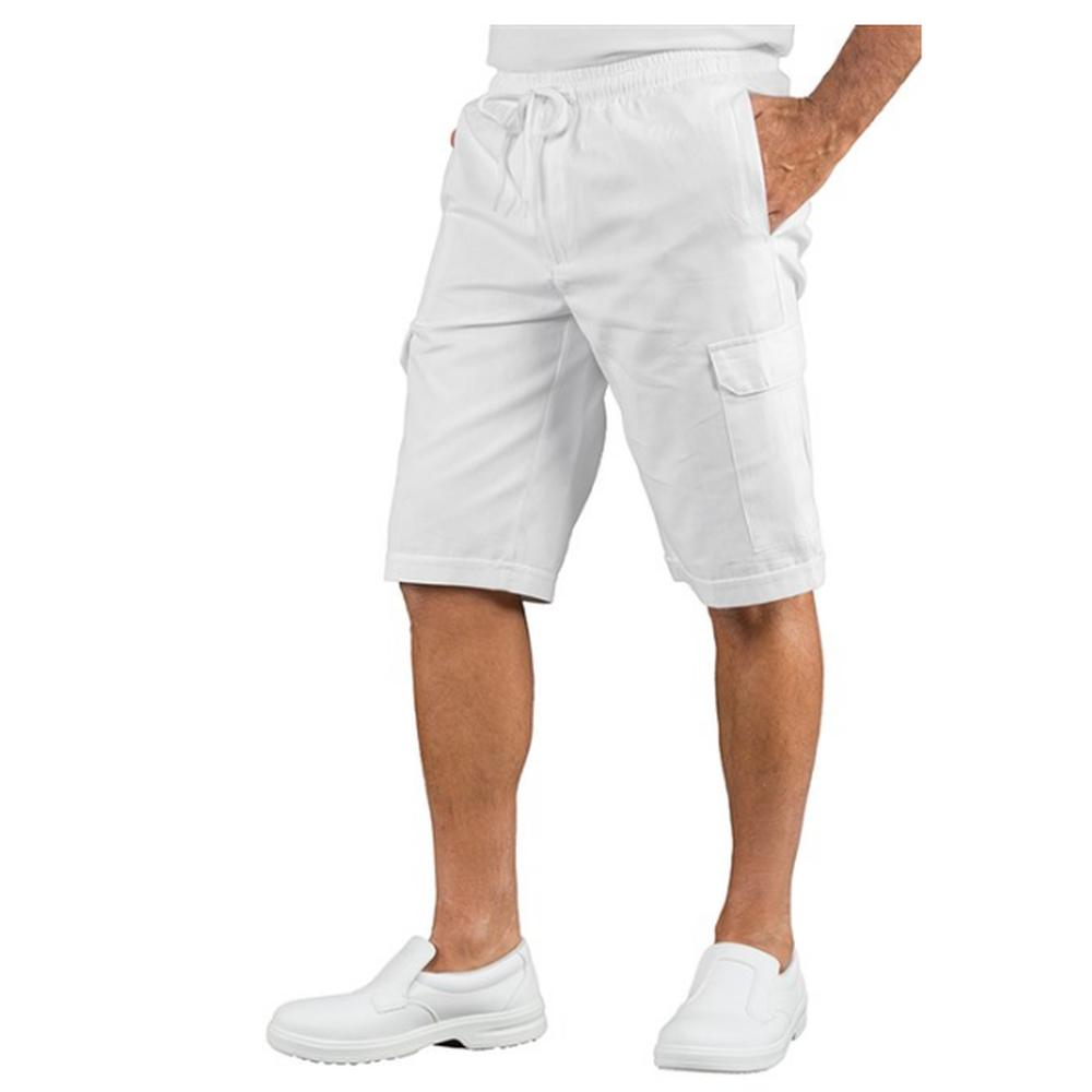Short de travail taille élastiquée Isacco poches cargo - Blanc