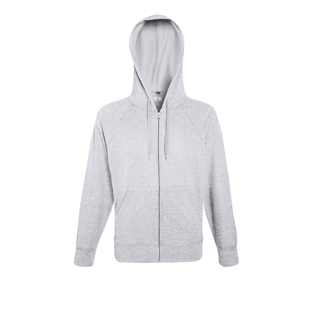 Sweat-shirt léger à capuche zippé Fruit Of The Loom Lightweight Hooded gris