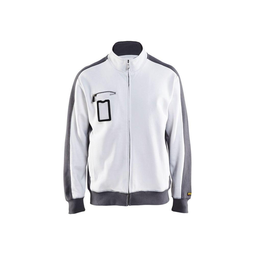 Sweat shirt peintre Blaklader zippé - Blanc / Gris