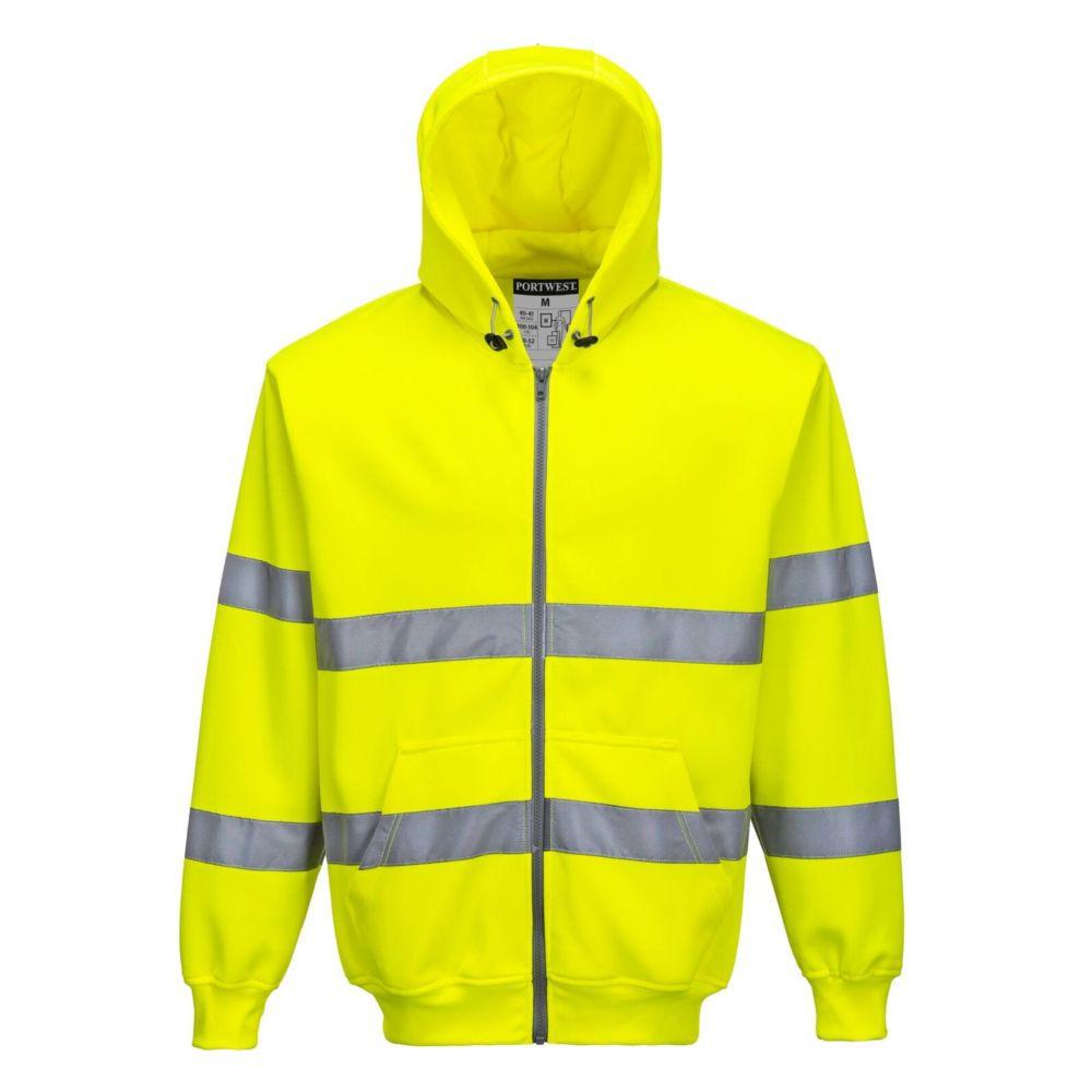 Sweat shirt zip central à capuche haute visibilité Portwest - Jaune