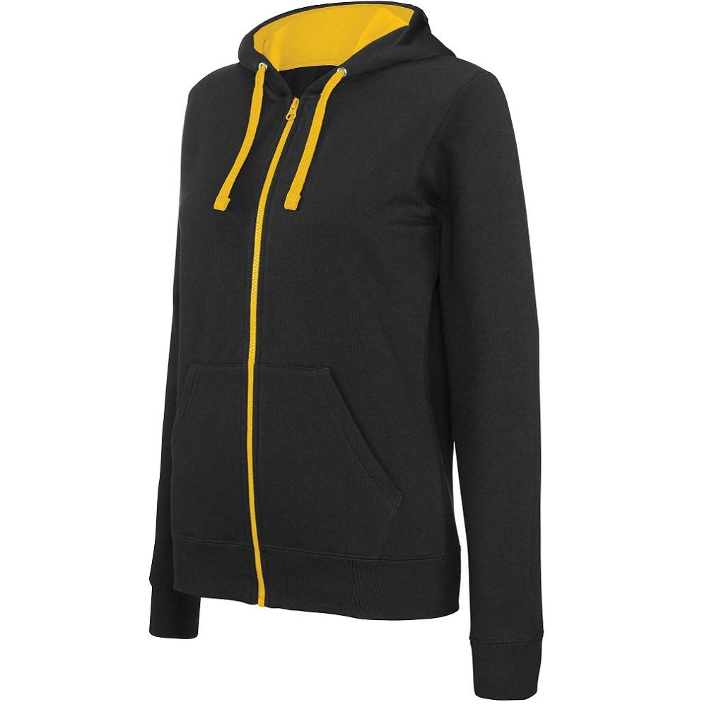 Sweat-shirt zippé capuche contrastée Kariban femme - Sweat-shirt zippé capuche contrastée femme Kariban noir jaune