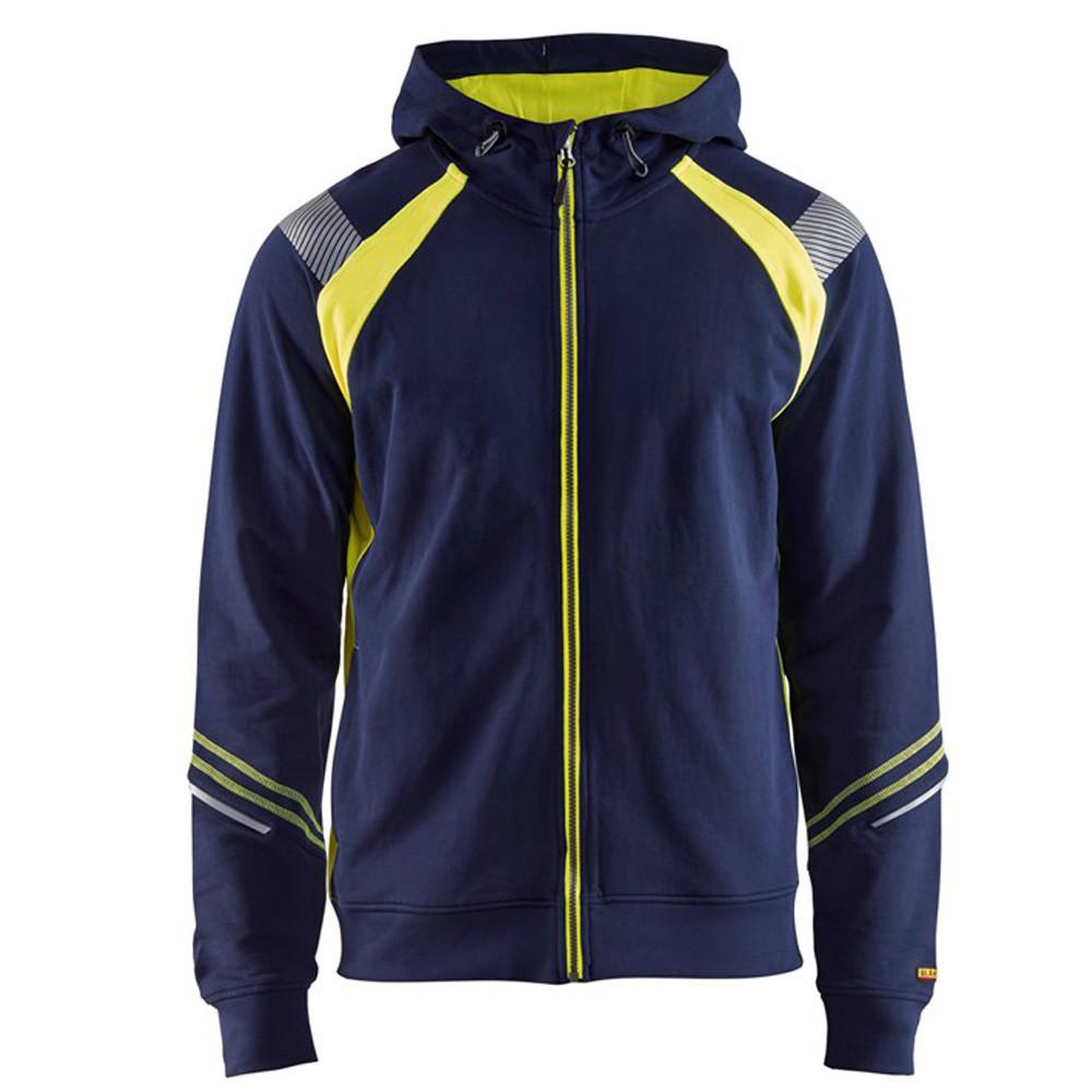 Sweat shirt à capuche haute visibilité Blaklader zippé - Marine / Jaune